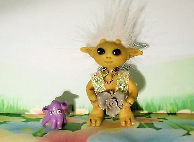 ALIEN ELF AND PET SQUID  OOAK Folk Art doll polymer clay Troll Gnome Christmas