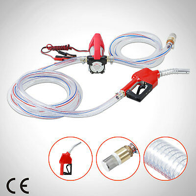 12V Electric Fuel Extractor Transfer Pump Kerosene Diesel Oil Nozzle Hose Auto