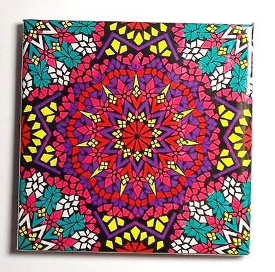 New Fair Trade Hippy Boho Psychedelic Fridge Magnet From Marrakech, Morocco