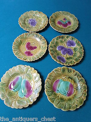 Sarreguemines French Fruit 6  Dessert plates Set  Majolica Plates [a*14]