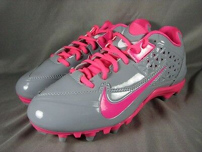 Nike Speedlax 4 Women's Lacrosse Cleats Shoes 616300-006 Gray Pink Size 9 US NEW