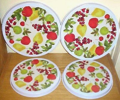 """Cooking Concepts Burner Cover Set of 4 - 2 Large 10"""" & 2 Small 8"""" Fruit Pattern"""
