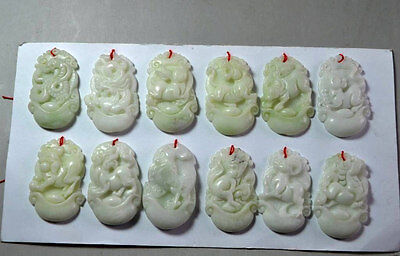 12 PCS Chinese natural jade carved complete 12 zodiac jade pendant...NR