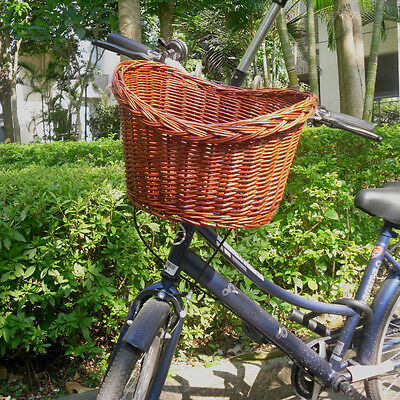 Dark Brown Uncovered Willow Wicker Shopping Bicycle Basket Food Pet Storage