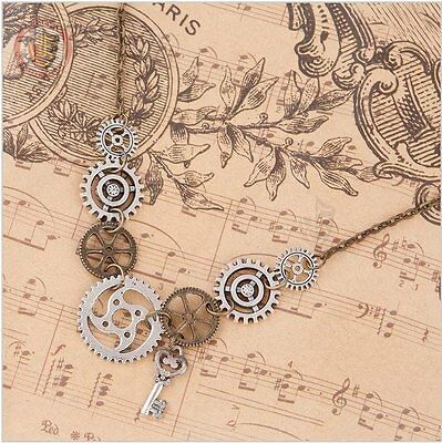 Cogs & Key - Steampunk Necklace Costume Gears Jewellery