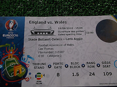 WALES V ENGLAND  16th JUNE 2016  EURO 2016 FINALS GROUP B  TICKET STUB
