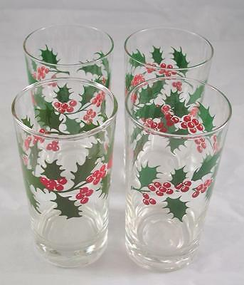 4 Libbey Holly Berry Christmas Glasses Rock Sharp no veins - solid leaf Vintage
