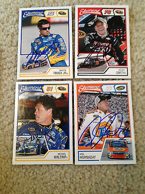 Lot Of 4 Nascar Signed Autograph Cards W/coa Truex Jr,hornaday,m. Waltrip,smith