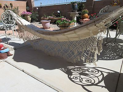 Cotton Lace Hammock Spring Hung Clean White Large Vintage Estate Item Unmarked