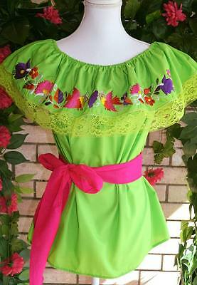 Embroidered Women Mexican Small/medium Blouse Lime Green With  Colorful Flowers