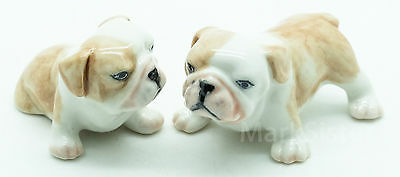 Figurine Miniature Animal Ceramic Statue 2 Bulldog Dog - CDG009