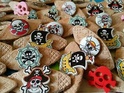 JOB LOT 10 HANDMADE PIRATE THEMED WOODEN  BROOCHES - party favours etc