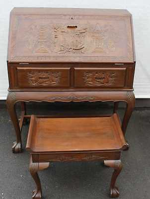 1920s Padouk Wood Bureaux Highly Carved with chinese scene Plus Stool