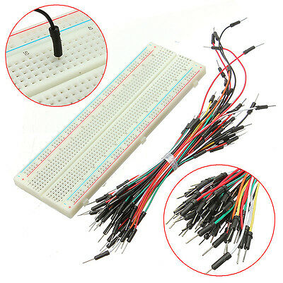 1x PCB 830 Tie Points Solderless Breadboard +65x Jumper Cable Wires for Arduino