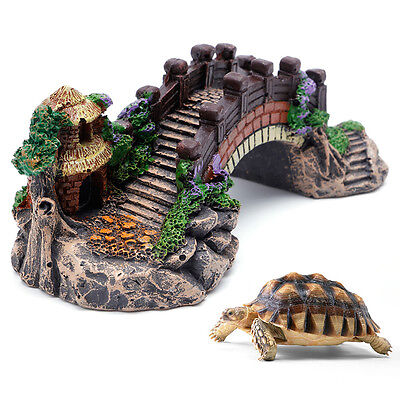 Aquarium Decoration Fish Tank Bridge Landscape Ornaments Pavilion Tree Resin