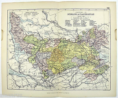 Original Philips 1882 Map of The Counties of Stirling & Clackmannan, Scotland