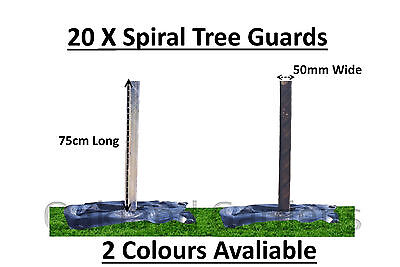 20 X (75cm x 50mm) Spiral Tree Guards Shelter Canes Rabbit Hedge Saplings Fence