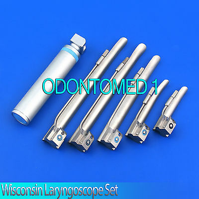 Wisconsin Laryngoscope Set EMT Veterinary Top Quality,6 Pieces
