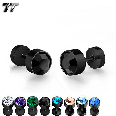 TT 7mm Surgical Steel Round Fake Ear Plug Earrings 8 Colors (BE95) NEW Arrival