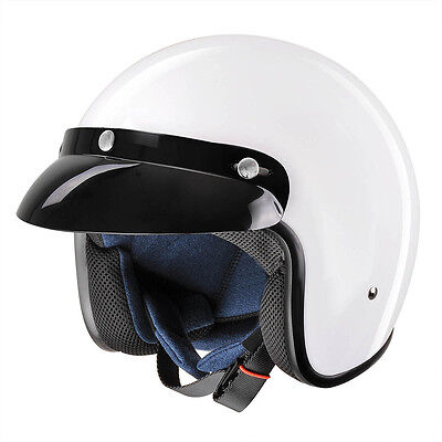 Vintage Gloss White 3/4 Open Face Helmet DOT Motorcycle Scooter Rider XLarge