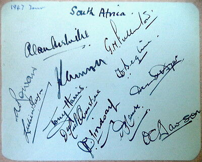 South Africa To England 1947 Autographed Album Page