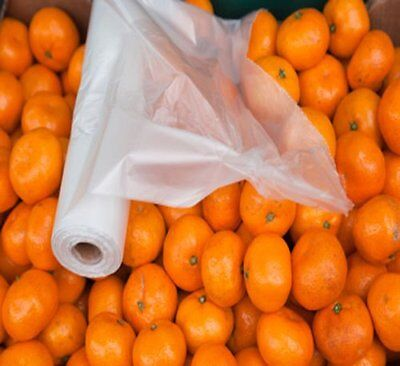 """8 Rolls (6000 Bags) Perforated Produce Grocery Bags, Clear, Reusable 11"""" x 17"""""""