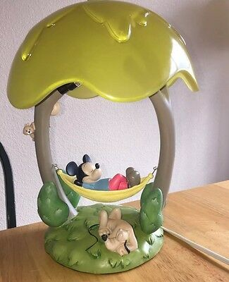 Mickey Mouse In A Hammock Lamp With Pluto At Base Disney