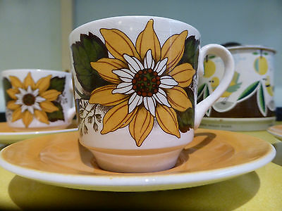 Vintage Retro 1960s Tanya Cups & Saucers Barratts of Staffordshire Set of 4
