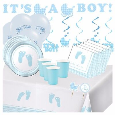 PLAID BABY BOY - Blue Baby Shower Party Supplies,Games,Tableware,Decorations