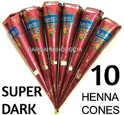 10 X Super Dark Naturbraun Henna Mehandi Tattoo-Set Kegel Paste Pen Körperkunst