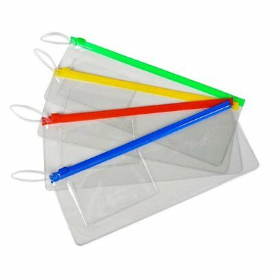 Lot Of 12 Assorted Color Zipper Style Plastic Pouches