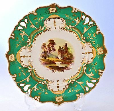 """Antique Pierced Hand Painted And Gilded 9"""" Shaped Cabinet Plate With Green Rim"""