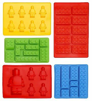 5XLego Ice Cube Silicone Mould's, Great Fun For Candy, Chocolate & Kids Party's