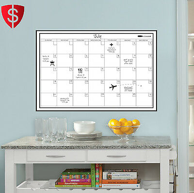 White Wall Board Calendar Dry Erase Marker Monthly Office Planner 24 x 36 Inch