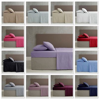 Catherine Lansfield Easy Iron Plain Percale Fitted / Flat Sheets / Pillowcases