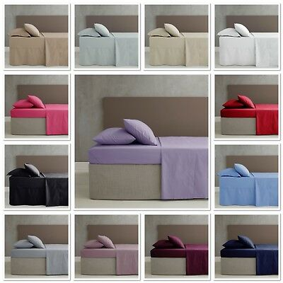 Catherine Lansfield Non Iron Plain Percale Fitted / Flat Sheets / Pillowcases