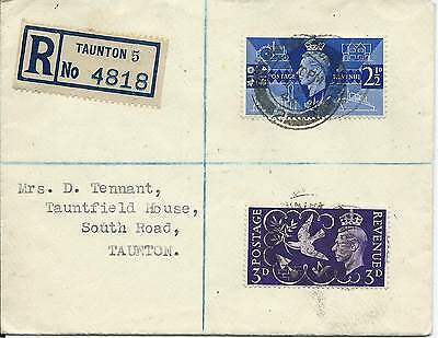 GB 1946 Victory Set (2) on Reg'd Cover with Station Rd Taunton CDS - Local Use