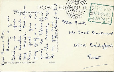 GB 1967 PPC of E.Runton Surcharged 6d at Cromer to West Bridgford