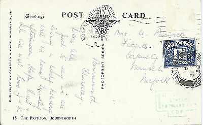 GB 1958 PPC of Pavillion with Bournemouth Cancel Then Surcharged 1d at Saxthorpe