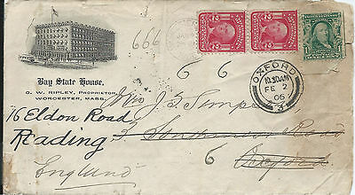 USA 1906 Bay State House Cover from Worcester to Oxford Redirected to Reading
