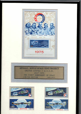 1975 APOLLO-SOYUZ Space Project stamps framed presentation with COA