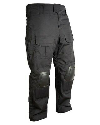 BLACK SPECIAL OPS Ripstop Polycotton TACTICAL Combat Trousers WITH KNEE PADS