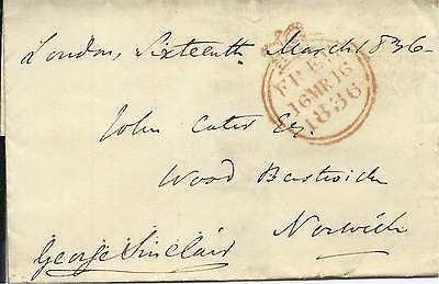 GB 1836 Free Wrapper Signed by Sir Geo Sinclair MP Caithness - London to Norwich