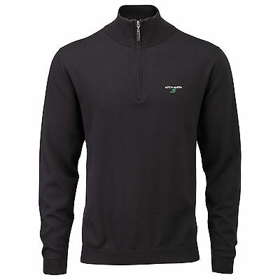 Aston Martin S Mens Half Zip Top Black - New Golf Pullover Sweater 100% Cotton
