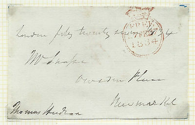 GB 1834 Freefront Signed by Thomas Hudson MP Evesham from London to Newmarket
