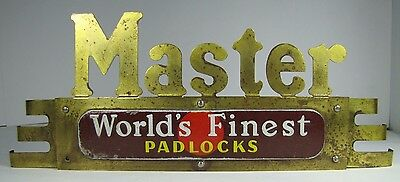 "Old Brass Art Deco MASTER Locks Store Display Adv Sign ""World's Finest Padlocks"""
