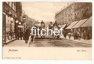 Antique 1907 PC Rye Lane Peckham.Busy Street Horse drawn Buses. Wrench No. 3988
