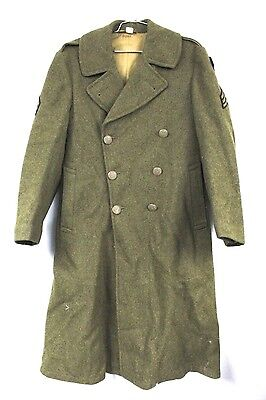 WW2 WWII US Army Air Corp Air Force Men's Wool Long Trench Coat Olive Green 36R