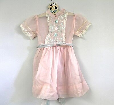 "VTG 1950's Sheer Pink/Aqua Nylon  Girl's Doll Dress up to 26"" Chest 2-3 yrs old"