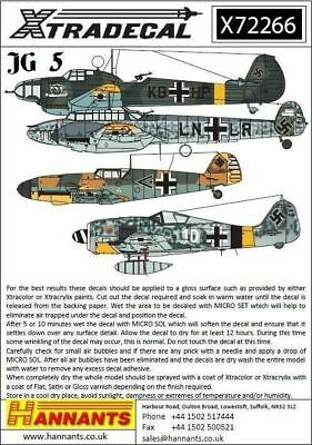 Xtradecal X72266 1/72 Luftwaffe JG 5 Squadron History Model Decals
